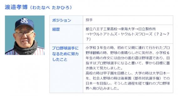 投手臨時コーチに渡邉孝博氏